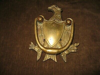 "Early Antique American Eagle Brass Door Knocker Breast Plate Heavy 7"" A+ Detail"