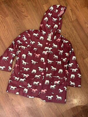 Girls Hatley Burgundy Horse Patterned Hooded Jacket Coat Age 3Yrs Great Cond