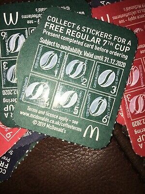 12 Mcdonalds Coffee Card Vouchers Loyalty Coffee Hot Drink 31/12/2020