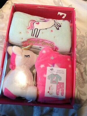 Primark Baby Girl Unicorn Fleece Pjs Pyjamas 12-18 Months New