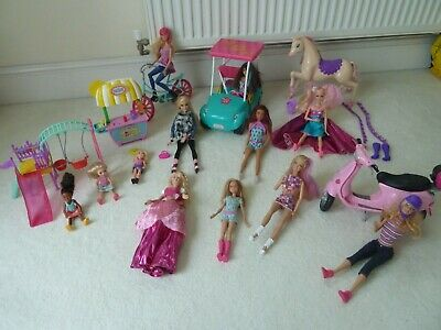 barbie doll bundle with accessories and jeep,horse bike and chelsea dolls