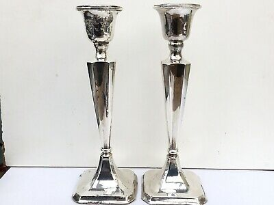 Good Size Pair Of Antique Silver Candlesticks, Filled, 22cms Height, 1919