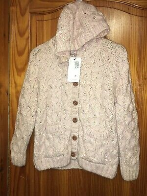 Girls Marks & Spencer Fluffy Cardigan M&S Age 11-12 Years Hooded Chunky New