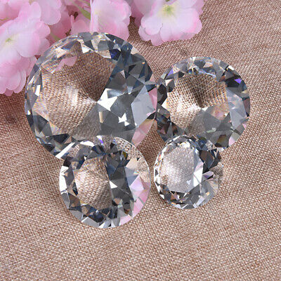 Crystal Clear Paperweight Faceted Cut Glass Giant Diamond Jewelry Decor Craft US