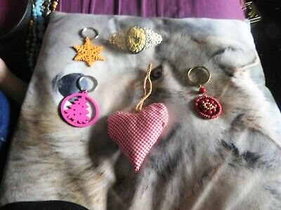 Handmade Christmas Keyrings, Hair Clip And Heart