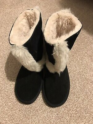 River Island Girls Black Suede Fur Boots Size 1 Brand New