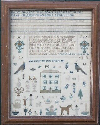 ANTIQUE FAMILY SAMPLER by SARAH GRANDY 1826 Christchurch HAmpshire