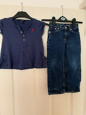 Girls Ralph Lauren Jeans And T-shirt Age 4 Years