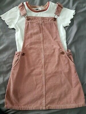 M&s Pink Corduroy Pinafore Dress And Top Dungaree 7-8 Years girls