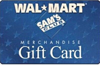 $50 Walmart or Sam's Club -  Gift Card  - Unscratched- NEW