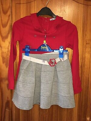 Mayoral Outfit Set ~  Red Top Grey Skater Skirt ~ Age 9 Years