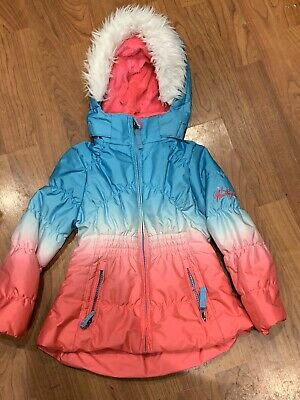 Girls Blue Pink Hooded Zip Padded Coat Jacket Age 3Yrs Great Condition