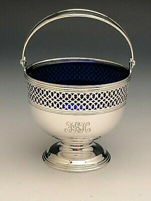 Tiffany & Co. Sterling Silver Basket with Cobalt Glass Liner and Pivoting Handle