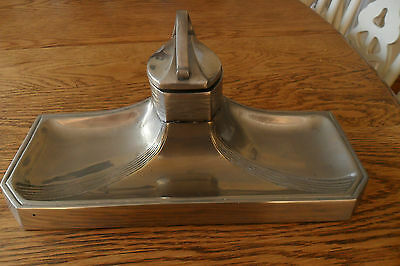 Lovely Art Nouveau Pewter Inkwell