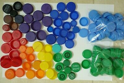 Plastic Bottle Caps for Crafts various sizes and colors, clean, sorted, bagged