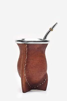 Balibetov [NEW] Leather Wrapped Handmade Yerba Mate Gourd Mate cup with Bombilla