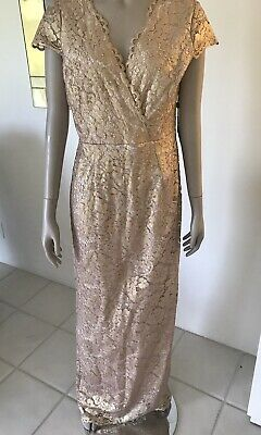 Adrianna Papell Womens  Gold Lace   Evening Gown  Size 6 NWT