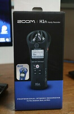 Zoom H1n Portable Handy Recorder with Microphone Blue + Wind Muff +Lavalier mic