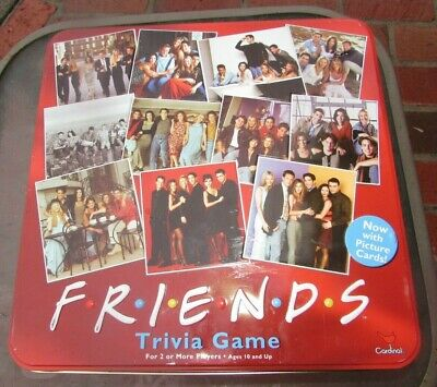 Friends Trivia Game Picture Cards Collectible Board Red Tin CARDINAL Xmas NEW