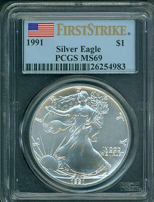 1991 American Silver Eagle ASE S$1 PCGS MS69 Near PERFECT FIRST STRIKE FS !