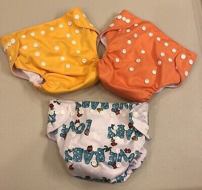 NEW~Lot 3~LBB Cloth Reusable Diapers~Yellow Orange Baby Love~Adjustable~Pocket