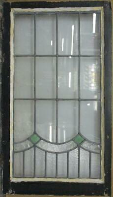"""LARGE OLD ENGLISH LEADED STAINED GLASS WINDOW Simple Swag Design 18.5"""" x 33"""""""