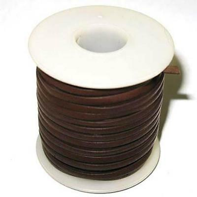 """Calf Leather Lace 3/32"""" 50 Yards of Dark Brown"""