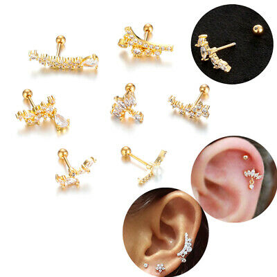 Back Stainless Steel CZ Zircon Piercing Earring Cartilage Ear Stud Tragus Helix