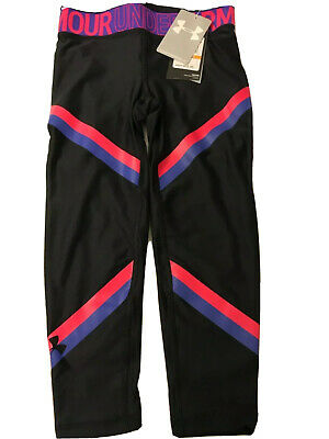 Girls Kids Youth Small Under Armour Leggings NEW pants Black pink purple fitted