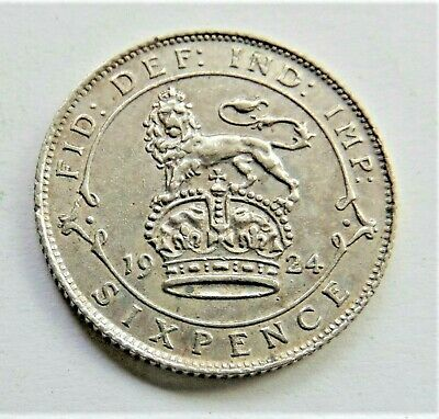 1924 GB George V Silver Sixpence grading EXTRA FINE.
