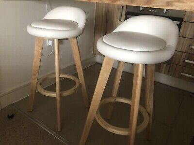 Wayfair Nearly NEW Set Of 2 Swivel Bar Stools - White/Oak Wood RRP £200