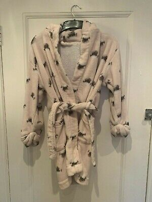 Next Pink Dressing Gown With Pugs  - Age 7-8 Years - Great Condition
