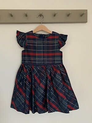 Marks & Spencer Age 4-5 Girls Blue & Green Tartan Party Dress Christmas Bnwt New