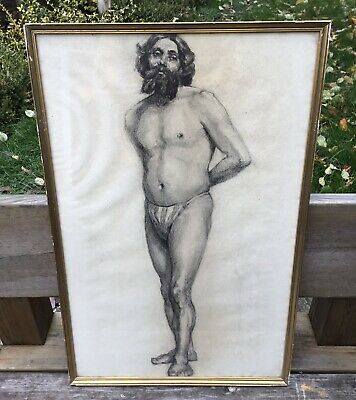 Old Vintage Midcentury French Art School Framed & Glazed Male Nude Study Drawing