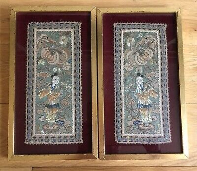 Old Vintage Antique Pair Of Framed Chinese Embroidery Silk Panels Of Figures
