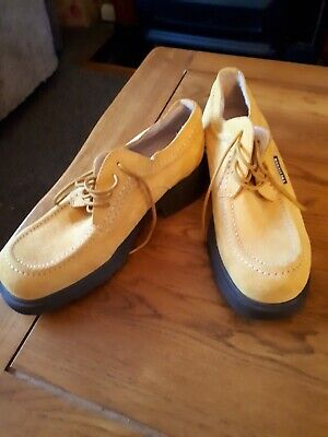 Chevignon mustard Suede Leather UK 4  Comfort Shoes Lace Up never worn outside