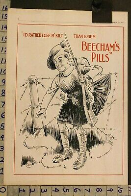 1917 Medical Quack Beecham Pill Laxative Health Military Wwi Soldier Ad Sh34