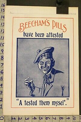 1916 Medical Quack Beecham Pills Laxative Health Nutrition Doctor Ad Sh33