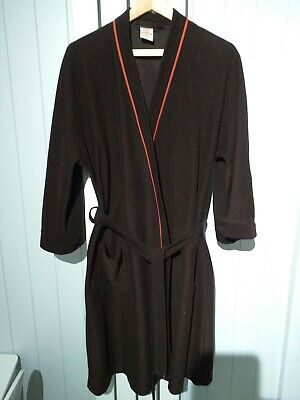 Genuine Vintage M&S St Michael Brown Orange Trim Dressing Gown Medium Immaculate