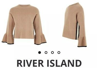 River Island Girls Brown Knit Jumper Bell Sleeves Age 7-8 Years