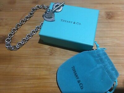 Tiffany & Co Sterling Silver Heart Tag Toggle Necklace, excellent condition.