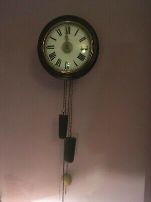 Antique Postman's Alarm Clock.  30 hour weight driven. Working