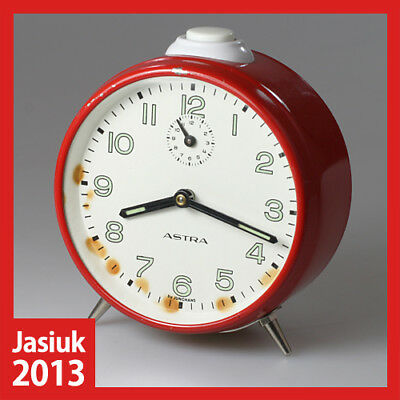 vintage ASTRA JUNGHANS Germany Red White Metal Mechanical Wind up Alarm Clock