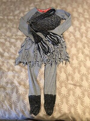 Nono Girls 4 Piece Outfit, Top, Skirt, Leggings And Scarf, Age 10 Years
