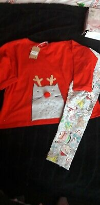 Bnwt Girls NEXT Christmas Pyjamas Age 8 Years, Cat Reindeer. Over Size Top,...
