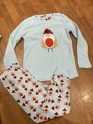 Girls Blue Robin Bird Themed Christmas Pyjamas Set Age 11-12Yrs Great Condition