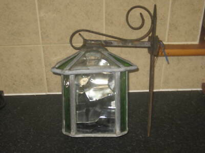 Antique Victorian / Edwardian Stained Leaded Glass Wall Light