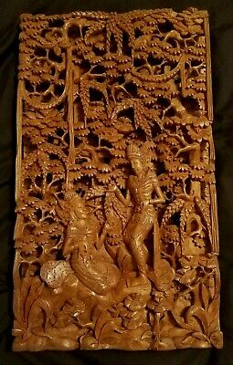 Large Vintage Indian Chinese Asian Wall Hanging Art Antique Carving Wood Panel