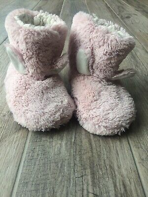 Girls Pink Fluffy Bunny Slipper Boots Size 10 M&s