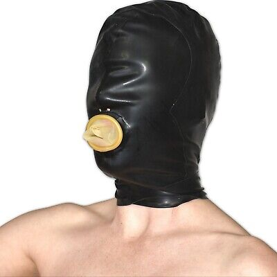Latex Mask with Mouth Black-Skin 58 cm Extent Rubber Rubber Hood